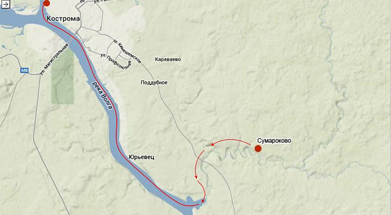 Это задуманная нитка маршрута нашего небольшого путешествия. Небольшого, потому что мы пока еще набираемся опыта. Всего 36 км, из них 15 км по Покше с ночевкой, и оставшиеся 21км – по Волге.