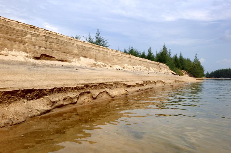 Песчаный пляж в разрезе.