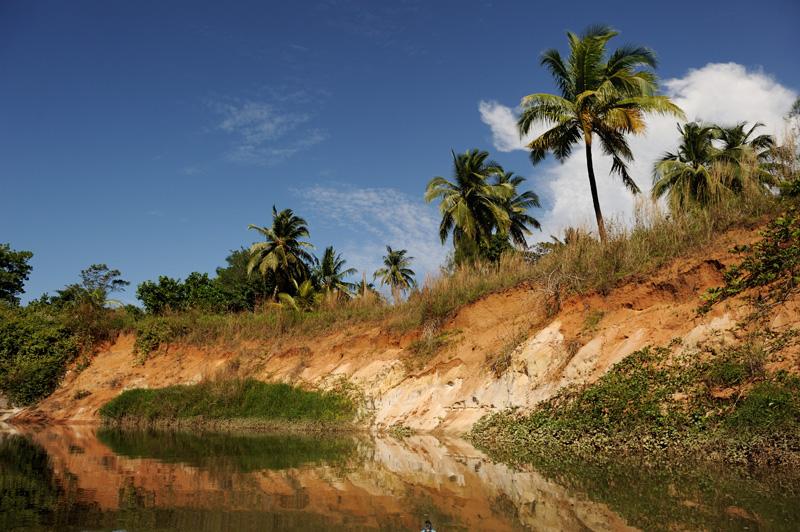 Иногда водные пути спрямляются, обходя квадраты рисовых чеков.