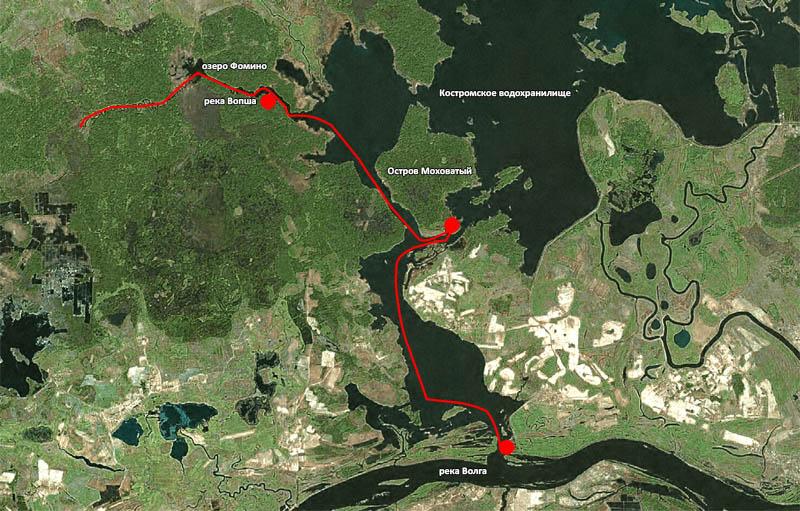 Схема нашего передвижения от места встречи до Вопши.