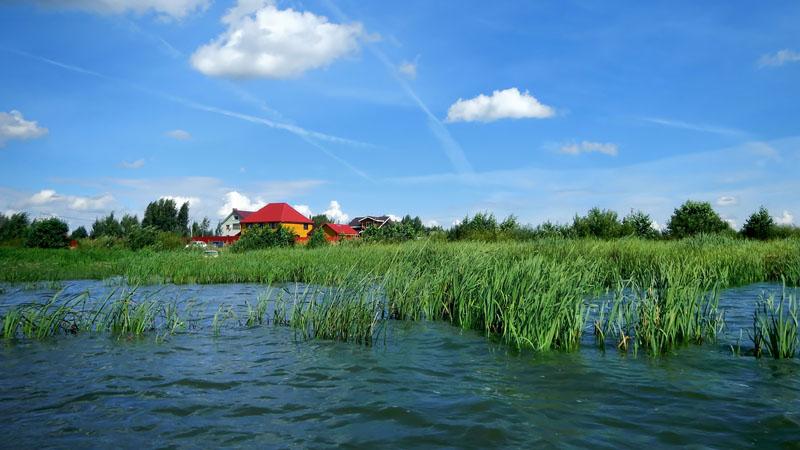 Гребу на этот раз вдоль обитаемого берега водохранилища. В кадре окраина деревни Петрилово.