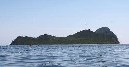 Погода способствует нашему быстрому продвижению к острову, в океане штиль и мы гребем, практически не останавливаясь, через четыре с половиной часа, в половине первого, мы высаживаемся на берегу острова Уташуд, недалеко от домика орнитологов.