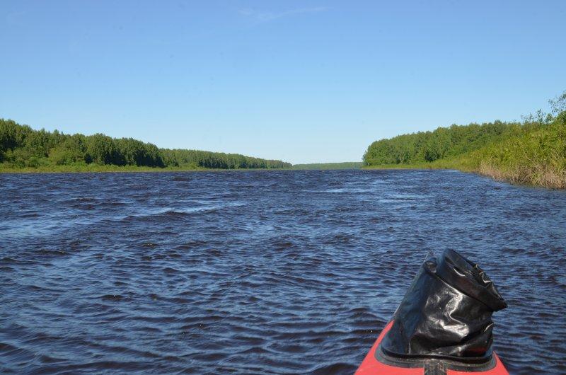Ветер после обеда совсем разошелся. На середине реки гуляет беляк, заставляя прижиматься под самый берег.
