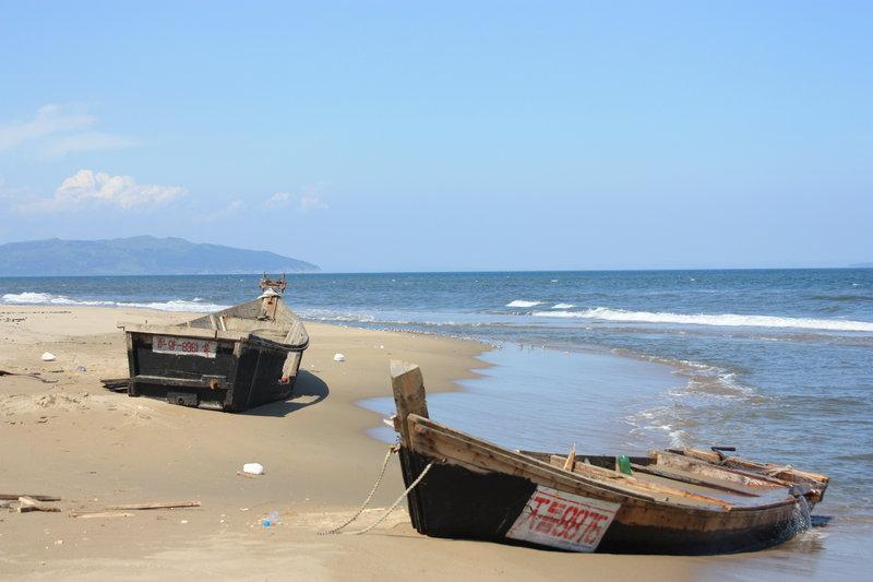 Но они заплывают. Вход в устье Туманной с моря-то не видно ( см. лоцию). Или их приносит штормом. Вот в конце августа 2010 на берег выбросило целую флотилию корейских кальмароловов.