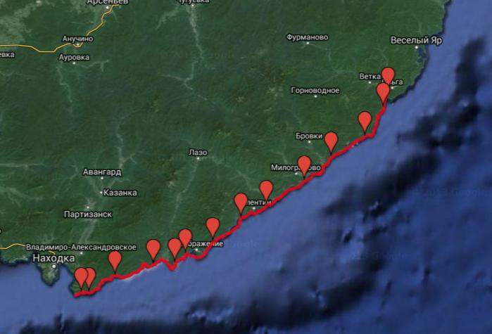 Карта маршрута 305 км