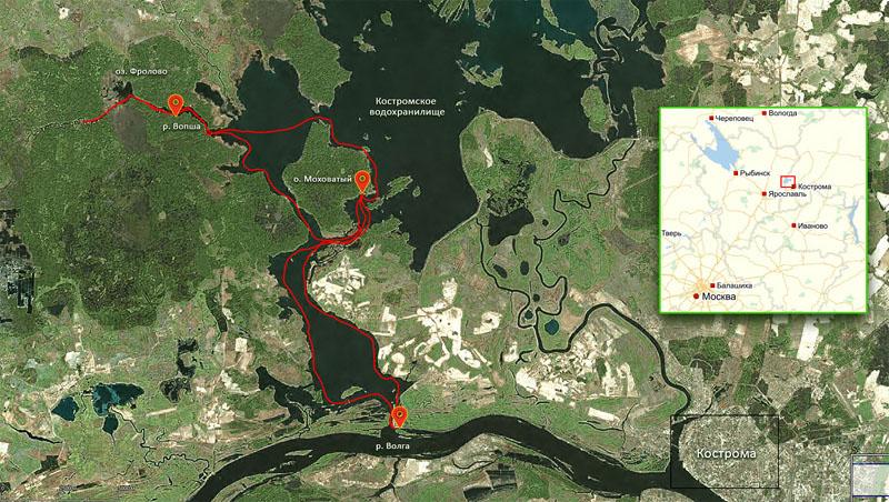 Трек маршрута. Начало в месте, где Костромское водохранилище сообщается с Волгой (нижняя точка). Завершение там же.