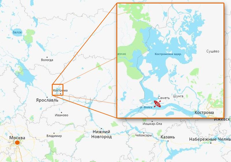 Мой любимый местный водоём – Костромское водохранилище. Хорош он тем, что половина его побережья принадлежит заказнику, где каякеру можно пребывать безо всяких разрешений (с условием, что не разводишь костры), а вот товарищам на моторных лодках сюда путь закрыт, к великому сожалению (их, разумеется, сожалению). Красная иконка рядом с Волгой – это место моего старта.